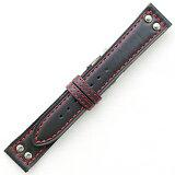 YC015AR【カーフ?厚手?赤糸ステッチ】 - 色:黒 /サイズ:18-16mm,20-18mm,22-20mm.24-22mm