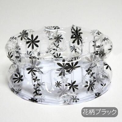 スタイリッシュな黒い花柄の 折りたたみ洗面器