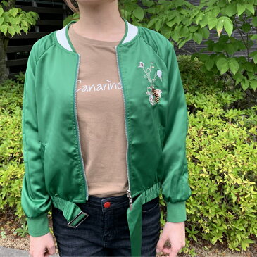 アウター ブルゾン MA-1 スカジャン ミリタリー ジャンパー 前開き ジップアップ 模様 刺繍 グリーン 緑 薄手 上着 春 秋 薄手