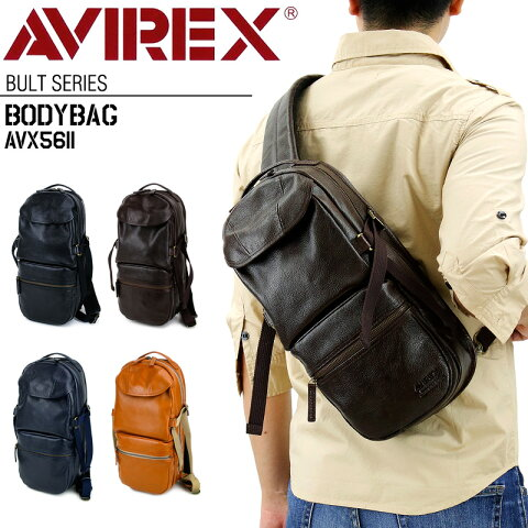 ボディバッグ AVIREX レザー 新作 メンズ 男女兼用 ユニセックス ワンショルダーバッグ アヴィレックス AVX5611 ブルト Bulto アビレックス 牛革 レザー 本革 ブランド かっこいい