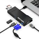 「テレワーク応援!」WAVLINK USB3.0フルHDミニドッキングステーション VGA/HDMI USB3.0ポート×2 TF/Mic...