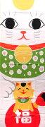【手ぬぐい・日本手拭い】大和絵手ぬぐい招き親子【日本・和風・招き猫・ねこ・縁起物】日本製(MADEINJAPAN)手ぬぐい専門店「わざっか本舗」