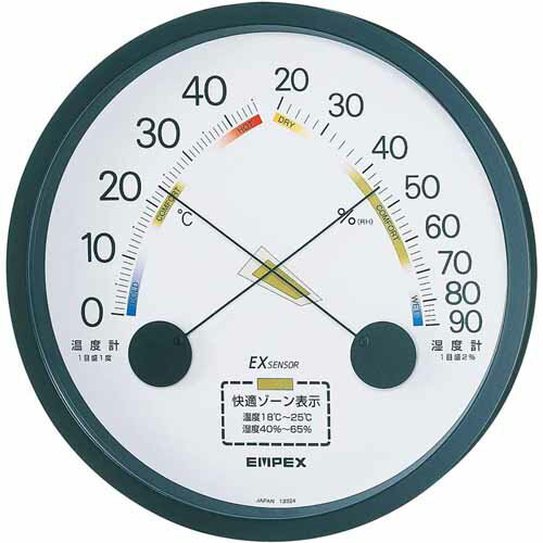 EMPEX エンペックス 温湿度計 エスパス ブラック TM-2332