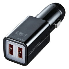 サンワサプライ USBカーチャージャー どっちもUSBタイプ ブラック CAR-CHR67UBK