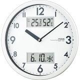 掛時計 静音 ウォールクロック ノア MAG マグ ダブルメジャー W-631 ホワイト 温湿度表示 日付液晶