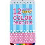トンボ鉛筆 スライド缶入色鉛筆 12色 ippo! プリントW03 CL-RRW0312C