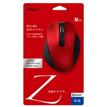 ナカバヤシ Digio2 Bluetoothマウス Z Mサイズ 5ボタン ブルーLED レッド MUS-BKF131R
