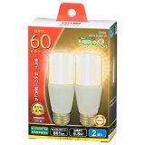 オーム電機 LED電球 T形 E26 60W形相当 電球色 全方向タイプ 断熱材施工器具 2個入り LDT7L-G IG92-2P