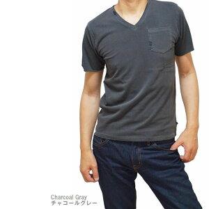 Tシャツ メンズ 半袖 無地 Vネック ポケット付き ピグメントバイオ加工 STEEL MIND【スティールマインド】(men'sTシャツ、men'sクールビズ)白 黄色 ベージュ 赤 ピンク 青 紺 黒 チャコールグレー 洗い加工 ゆうパケットで送料無料