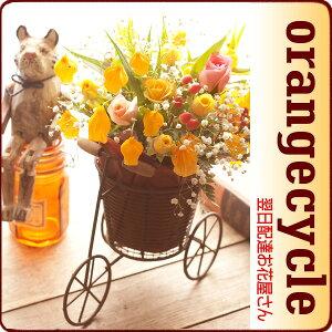 オレンジカラーのちょうちん型のお花をサイクルタイプのおしゃれなかごにアレンジ。誕生日 花【...