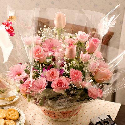 送料無料 ピンクローズ(バラ・アレンジメント)誕生日プレゼント 女性 母の日 フラワーギフト フラワーアレンジメント 誕生日