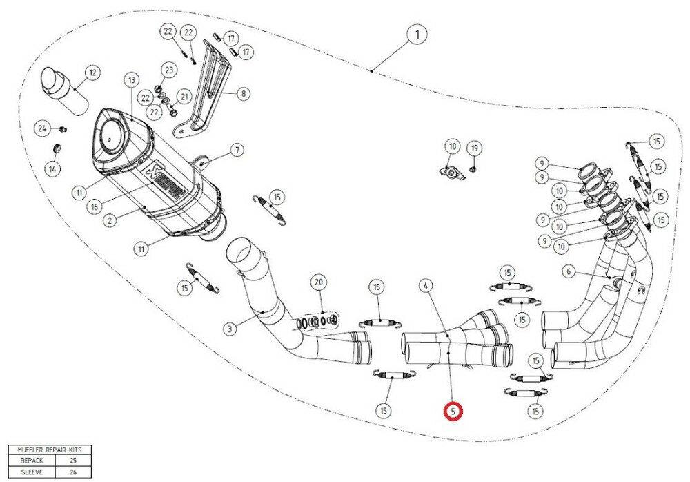 パーツ, マフラー AKRAPOVIC C-S10R71D collector SS GSX-R1000
