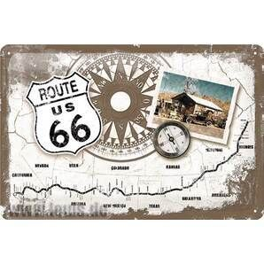 US Highways ユーエスハイウェイズ METAL SIGN *ROUTE 66* MAsE 200X300MM