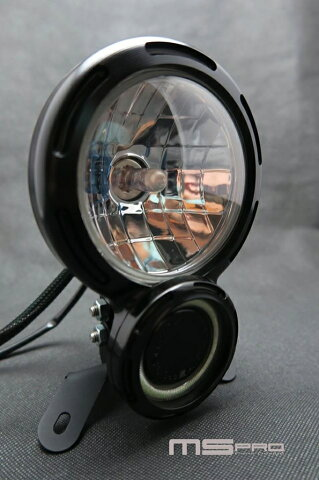 ヘッドライト本体・ライトリム/ケース 8タイプヘッドライト COBAperture color:Blue light H4 Lamp Specifications:Yellow light Headlights Body color:Black