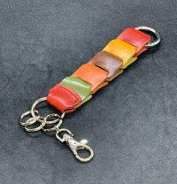 栃木レザー本革キーホルダー編み込みメッシュカラビナキーホルダー日本製キーケースアクセサリーベルトファッション小物メンズキーリング