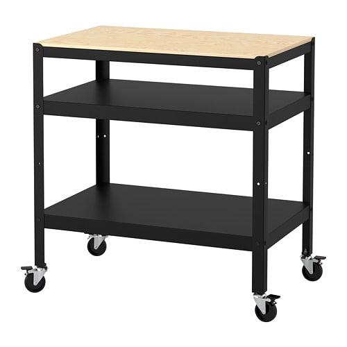 【IKEA/イケア/通販】 BROR ブロール ワゴン, ブラック, パイン材合板 木製(d)(40333851)[E]