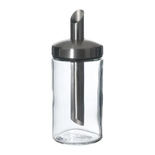 【IKEA/イケア/通販】DOLDドルド砂糖入れ,クリアガラス,ステンレススチール(c)(90137070)