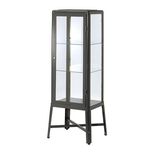 【期間限定】【IKEA/イケア/通販】 FABRIKÖR ファブリコール ガラス扉キャビネット, ダークグレー(d)(40242295)【代引不可商品】