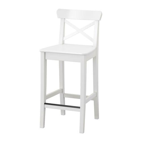 【IKEA/イケア/通販】 INGOLF インゴルフ バースツール 背もたれ付き, ホワイト(a)(20363330)