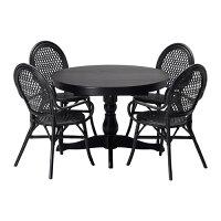 【IKEA/イケア】INGATORP/ÄLMSTAテーブル&チェア4脚,ブラック,籐ブラック(S09184165)