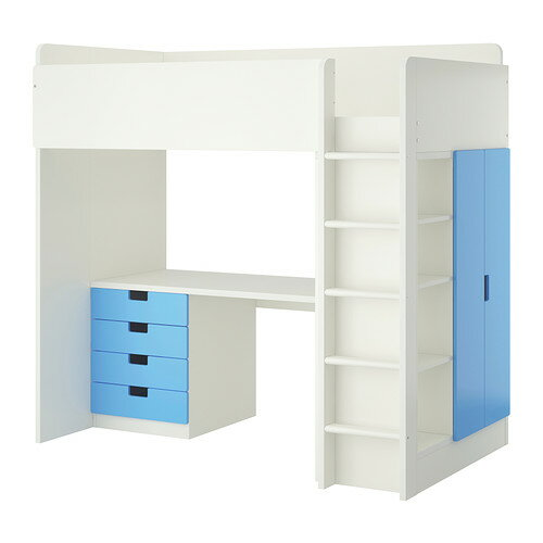 【IKEA/イケア/通販】 STUVA ロフトベッドフレーム デスク&収納付き(引き出し×4/扉×2), ホワイト, ブルー(a)(S09227315):WEBYセレクション