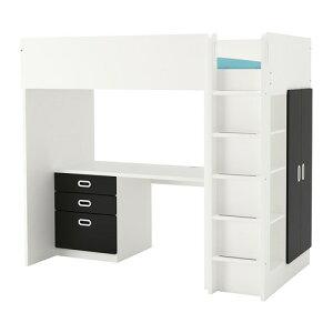 【IKEA/イケア/通販】 STUVA ストゥヴァ / FRITIDS フリーティズ ロフトベッドフレーム(※マットレスなど別売りの商品がございます。ご注意ください) デスク&収納付き(引き出し×3/扉×2