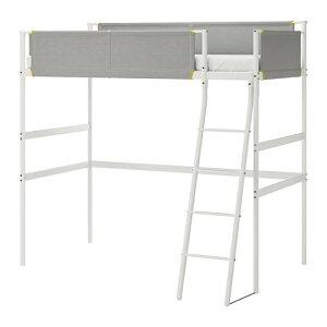 【IKEA/イケア/通販】 VITVAL ヴィトヴァル ロフトベッドフレーム, ホワイト, ライトグレー(20411232)