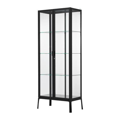 【IKEA/イケア/通販】 MILSBO ミルスボ ガラス扉キャビネット, チャコール(d)(10396449)【代引不可商品】