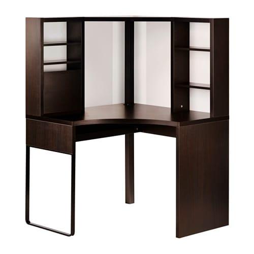 【IKEA/イケア/通販】 MICKE ミッケ コーナーワークステーション, ブラックブラウン(d)(30354274)【代引不可商品】