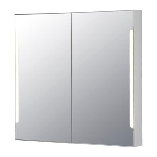【IKEA/イケア/通販】 STORJORM ストルヨルム ミラーキャビネット 扉2枚/ビルトイン照明, ホワイト(a)(30250078)【代引不可商品】