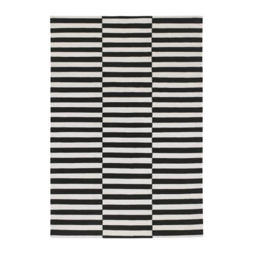 【IKEA/イケア/通販】 STOCKHOLM ストックホルム ラグ 平織り, ブラック ストライプ 手織り, ストライプ オフホワイト ブラック/オフホワイト(d)(90166449)[D]の写真