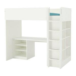 【IKEA/イケア/通販】 STUVA ストゥヴァ ロフトベッドフレーム デスク&収納付き(棚板×2/棚板×3), ホワイト(a)(S69268765)【代引不可商品】
