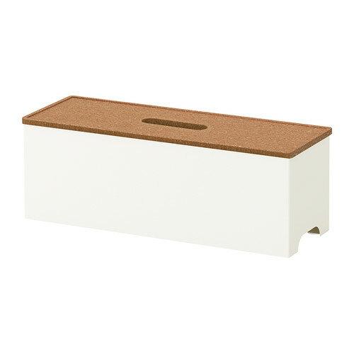 (期間限定)【IKEA/イケア/通販】 KVISSLE ケーブルマネジメントボックス, コルク, ホワイト(e)(40203958) IKEAのシンプルモダンなデスク収納・文具・オフィス雑貨シリーズ。【限定特価】