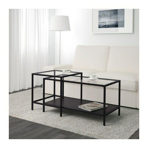 【IKEA/イケア/通販】 VITTSJÖ ヴィットショー ネストテーブル2点セット, ブラックブラウン, ガラス(d)(60215333)