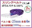 【あす楽対応】ベルトスリング 25mm巾 × 4m 2PCSセット/ポリエステルスリングベルト ナイロンスリング 繊維ベルト