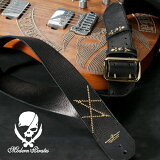 50mm Width Soft Leather Guitar Strap/HISASHI Mark Studs Design(Gold)