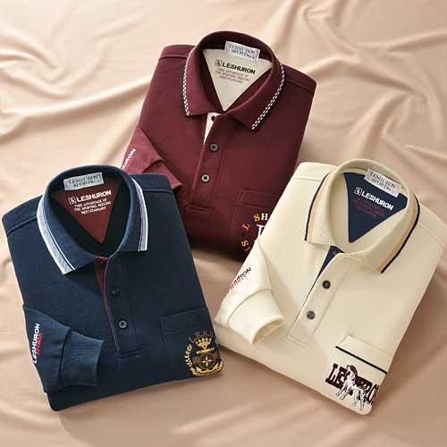 レシュロンスポーツ 裏起毛ポロシャツ3色組 メンズ 秋冬 長袖 953867