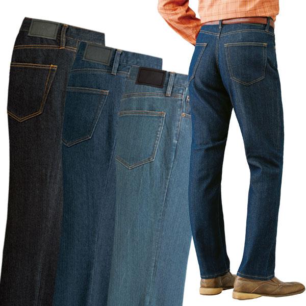 メンズ 裾上げ済みストレッチジーンズ 3色組 ストレッチ デニム 裾上げ不要 選べる股下 50代 60代 957437