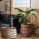 樽型収納 木樽 バレル 大サイズ 直径39cm 高さ49cm コーヒー樽 アンティーク風 ヒノキ材 日本製 完成品 DT-0004NA/DT-0004BR