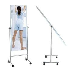 割れない鏡にキャスターが付いた移動が簡単な家庭用姿見。割れない鏡 リフェクス軽量フィルム...