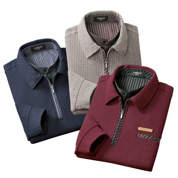 2重襟 ミックス調デザイン衿ポロシャツ 3色組 左胸ポケット 重ね着風 秋冬春 40代 50代 60代 957596