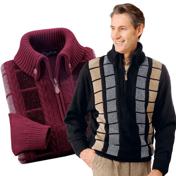 メンズ 秋冬 マフラー要らずの暖かセーター 2色組 ウール混 杢調 長袖 433006 50代 60代