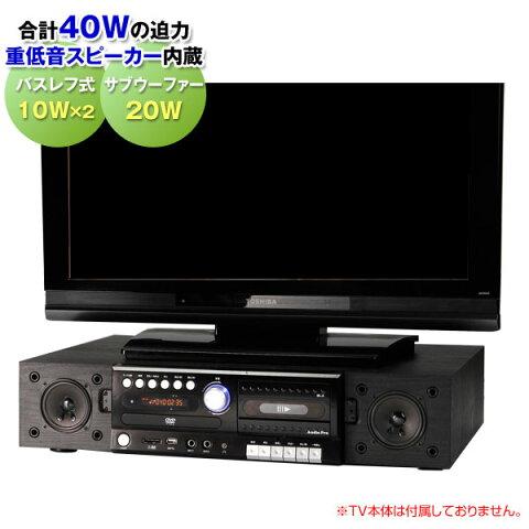 テレビ台 DVD内蔵 スピーカー DVDカラオケ サブウーファー ホームシアター カセット USB SD 録音 DVD-005KT【送料無料】