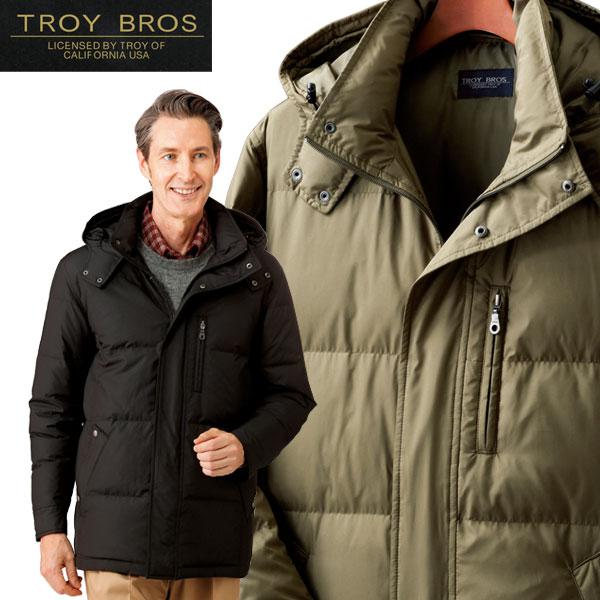 メンズ 秋冬 トロイブロス ダウンジャケット メンズ アウター 羽毛 高品質ダウン 700フィルパワー 防寒着 保温 フード付 957367 50代 60代