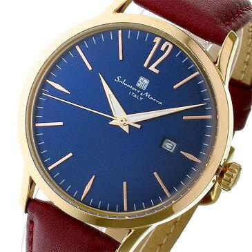 送料無料 サルバトーレマーラ 腕時計 メンズ レディース シェアウォッチ Salvatore Marra 変えベルト付き 腕時計 SM17116-PGBL ブルー ピンクゴールド 人気 イタリア ブランド 時計