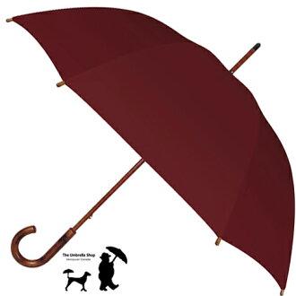 供供傘女士傘THE UMBRELLA SHOP二傘店鋪長傘家庭內暴力固體色帶甘地女性使用的男性使用的男女兩用人雨具素色簡單的umbdomesticpolyburgundy聖誕禮物禮物