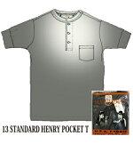 GLADHAND13STANDARDHENRYPOKETS/STeeBLACKポケット付ヘンリーネック半袖黒色
