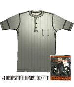 GLADHAND【GLADHAND】24ドロップステッチヘンリーポケット付半袖Tシャツ黒色【DROPSTITCHHENRYPOCKET】
