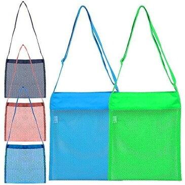 5つのメッシュのビーチバッグ、FineGood、砂のおもちゃ子供の男性の女性のためのシェルシェルトートバッグ、調整可能 ストラップ付き再利用可能な折りたたみ可能な軽量の収納袋-2大(青、緑)、3小(赤、黒、青)