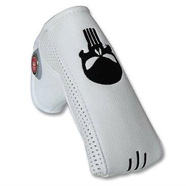 CRAFTSMAN(クラフトマン)ゴルフクラブヘッドカバー ウッドカバー セット パターカバー マレット型 ピンタイプ対応 スカル刺繍シリーズ 合成皮革製 ホワイト